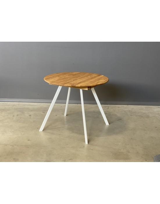 GENOVA TORI WHITE Ø90-128 apvalus, prasiilginantis, ąžuolinis stalas