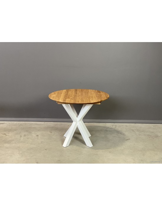 GENOVA MODERNA WHITE Ø90-128 apvalus, prasiilginantis, ąžuolinis stalas