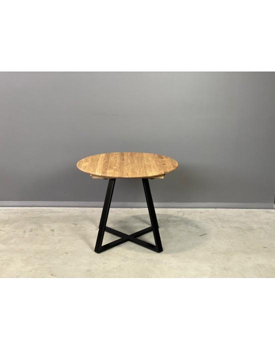 GENOVA LOFT Ø90-128 apvalus, prasiilginantis, ąžuolinis stalas