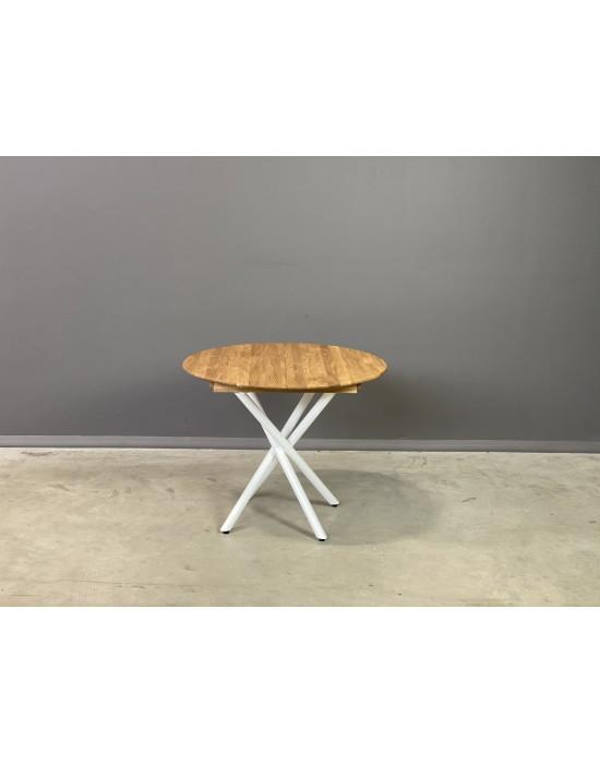 GENOVA SPYDER WHITE Ø90-128 apvalus, prasiilginantis, ąžuolinis stalas