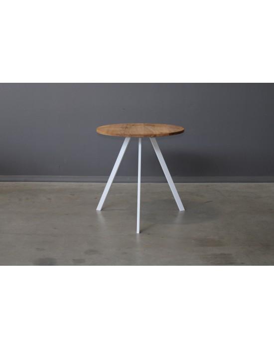 TORI WHITE Ø70 apvalus ąžuolinis stalas