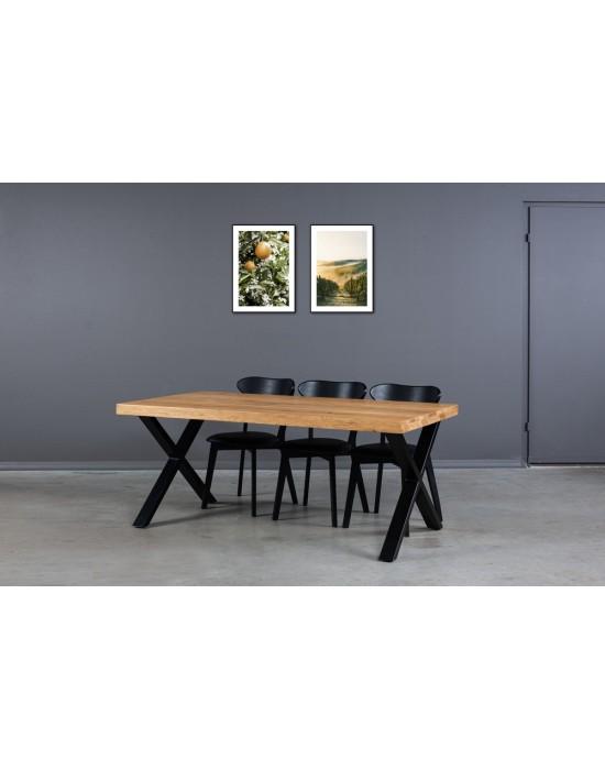 180X90 industrinio stiliaus ąžuolinis stalas
