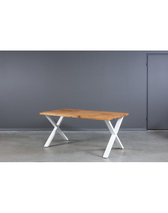 X WHITE 160X90 industrinio stiliaus ąžuolinis stalas