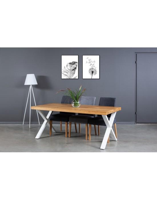 X WHITE 180X90 industrinio stiliaus ąžuolinis stalas