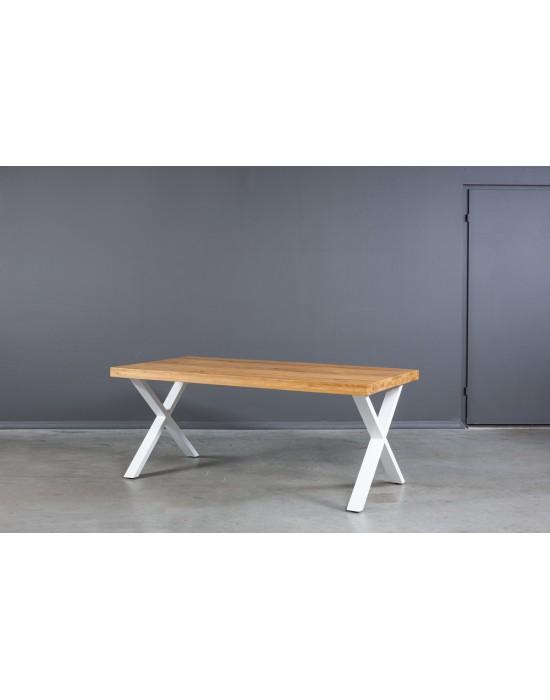 X WHITE 200X100 industrinio stiliaus ąžuolinis stalas