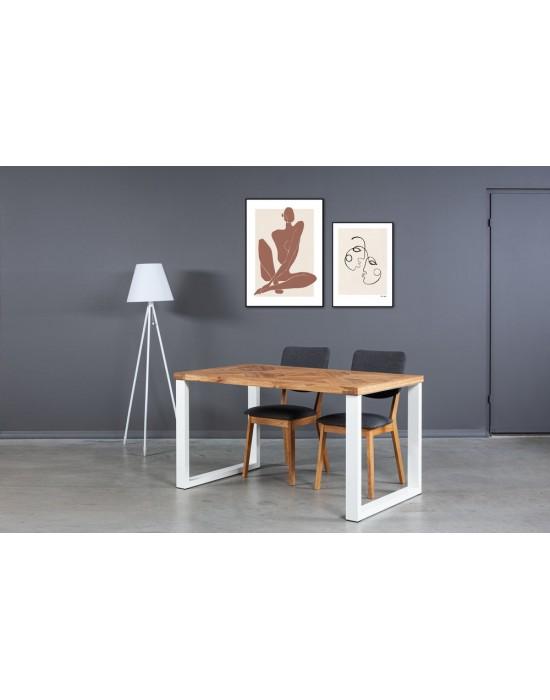 MOZAIKA BERGAMO WHITE 140x80 industrinio stiliaus ąžuolinis stalas