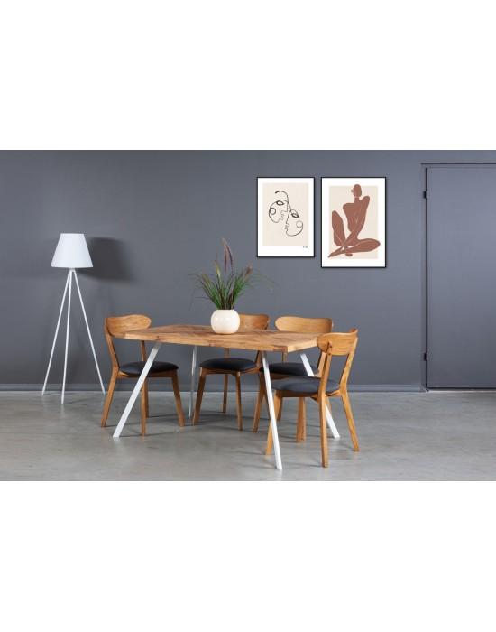 MOZAIKA TORI WHITE 140x80 industrinio stiliaus ąžuolinis stalas