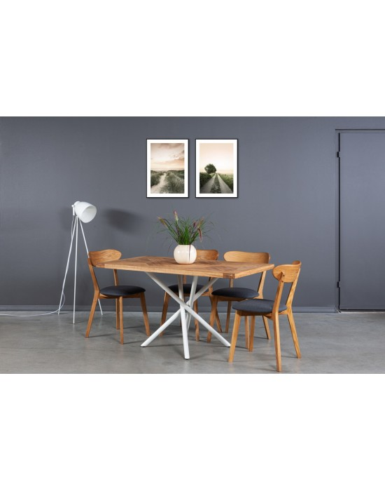 MOZAIKA SPYDER WHITE 140x80 industrinio stiliaus ąžuolinis stalas