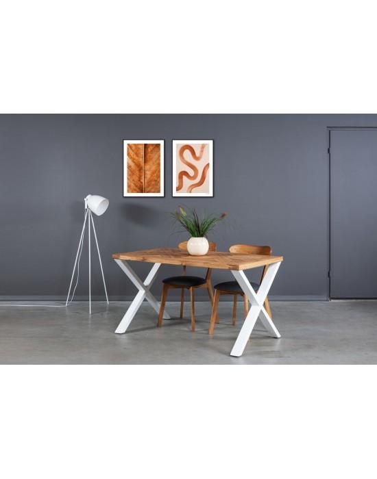 MOZAIKA X WHITE 140x80 industrinio stiliaus ąžuolinis stalas