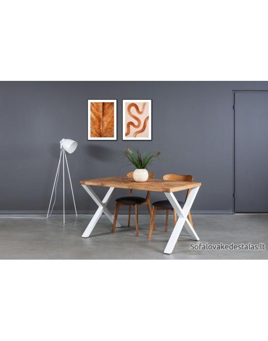 MOZAIKA X 140x80 industrinio stiliaus ąžuolinis stalas
