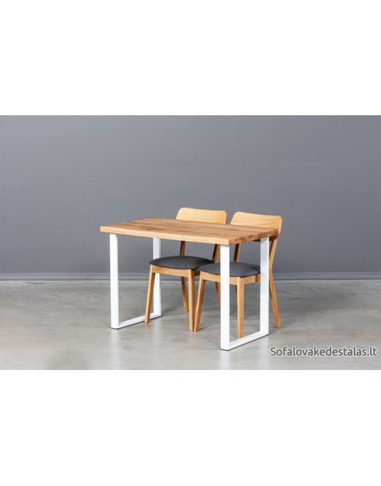 BERGAMO WHITE S 110X60 ąžuolinis stalas