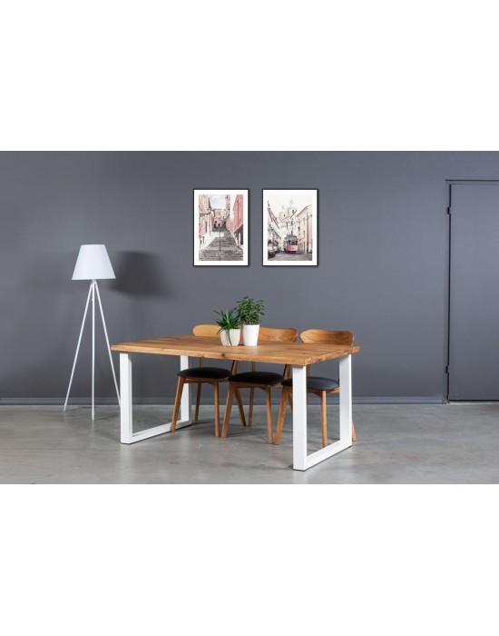 BERGAMO WHITE  industrinio stiliaus ąžuolinis stalas