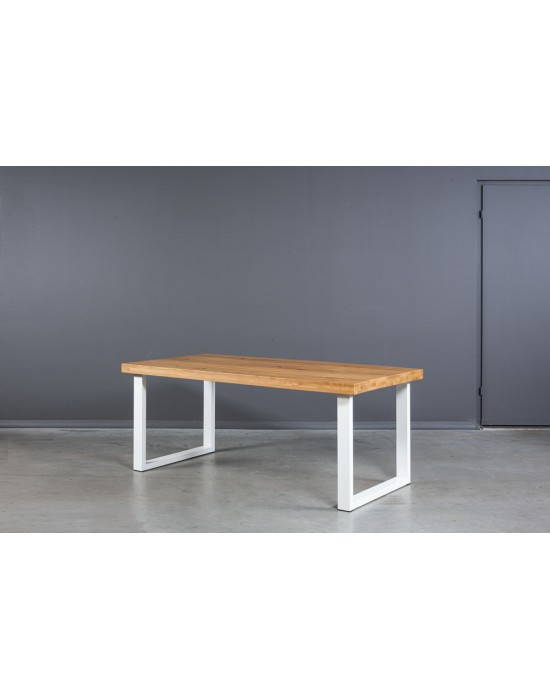 BERGAMO WHITE 200X100 industrinio stiliaus ąžuolinis stalas