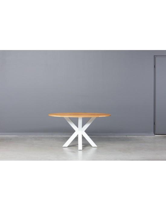 MODERNA ELIPSE WHITE 140X90 industrinio stiliaus ąžuolinis stalas