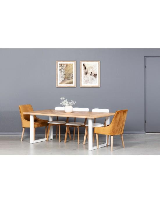 MOZAIKA BERGAMO WHITE 200X100 industrinio stiliaus ąžuolinis stalas