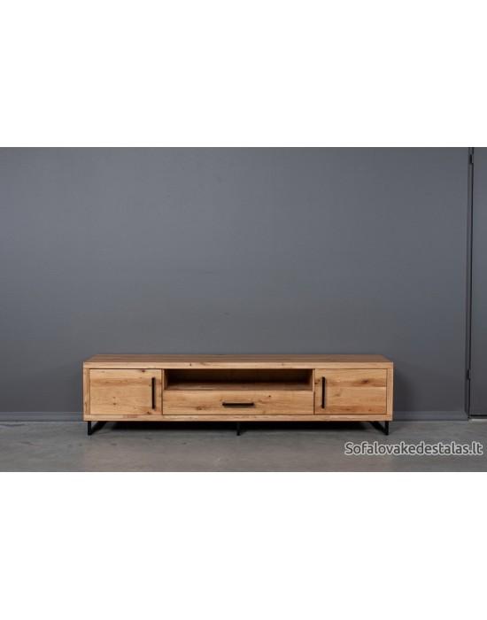 Ąžuolinis TV staliukas BERGAMO 200 cm su lentyna