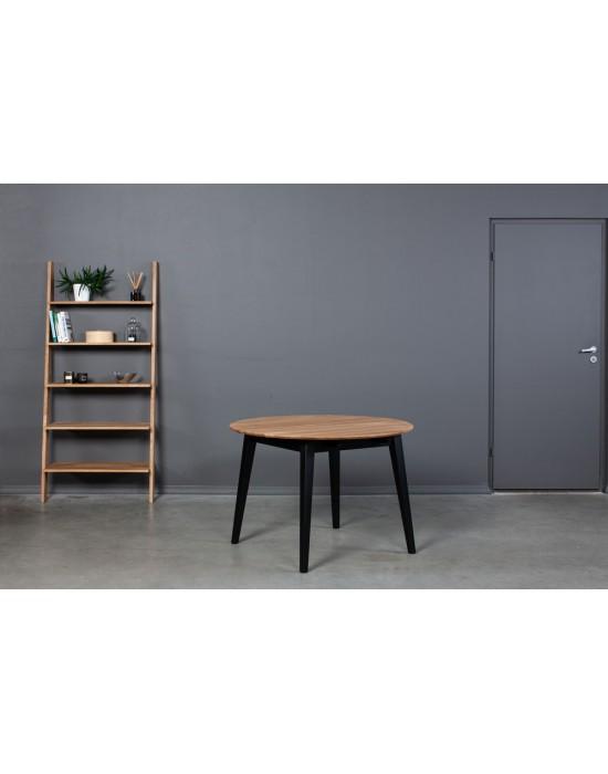 GENOVA BLACK Ø100-140cm apvalus, prasiilginantis, ąžuolinis stalas