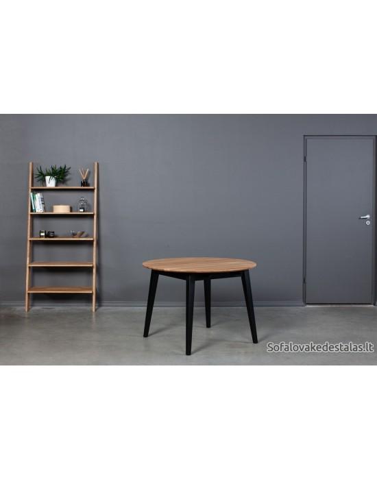 GENOVA BLACK Ø110-160 apvalus, prasiilginantis, ąžuolinis stalas