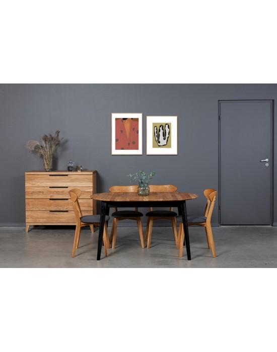 HOWDALA BLACK 140-180X90 ąžuolinis, prasiilginantis, stalas