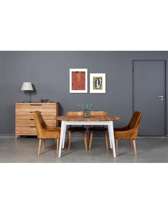 HOWDALA WHITE 140-180X90 ąžuolinis, prasiilginantis, stalas