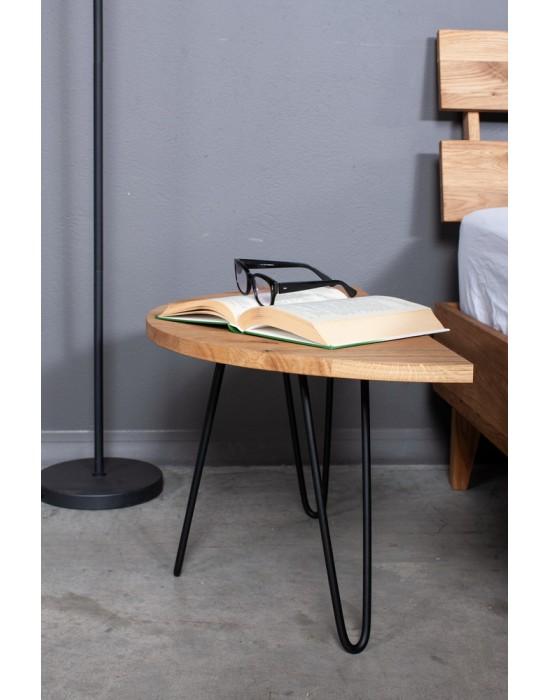 MOON EASY 50cm/60cm ąžuolinis šoninis staliukas juodom kojom
