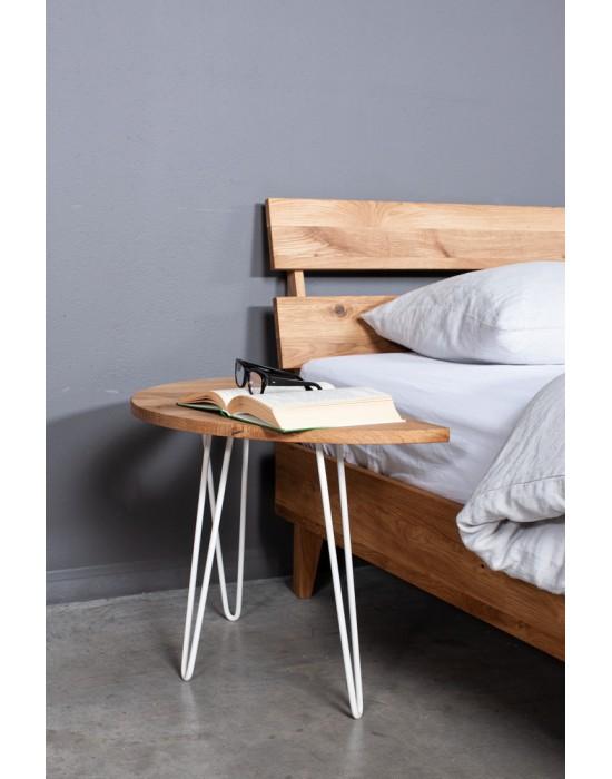 MOON EASY WHITE 50cm/60cm ąžuolinis šoninis staliukas juodom kojom