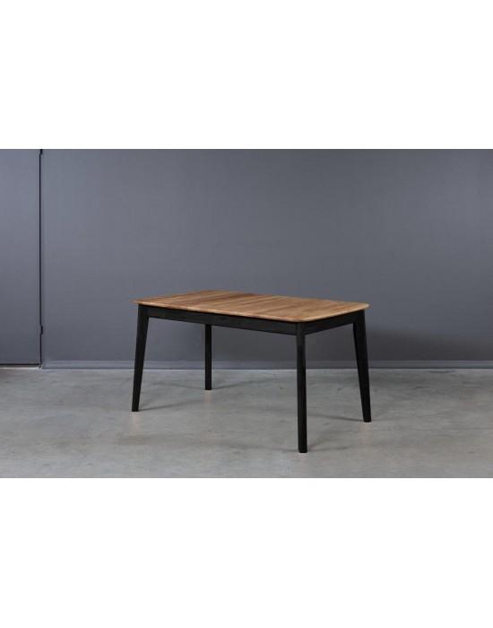 ISKU BLACK 140-185x80 ąžuolinis, prasiilginantis stalas