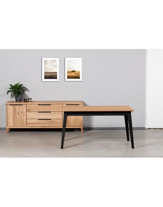 URBANO BLACK 140-230X90 ąžuolinis, prasiilginantis  stalas