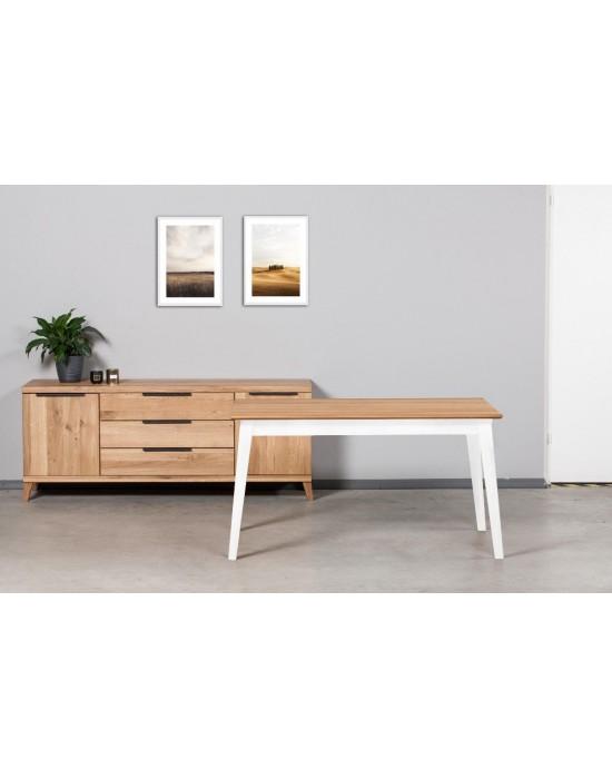 URBANO WHITE 140-230X90 ąžuolinis, prasiilginantis  stalas