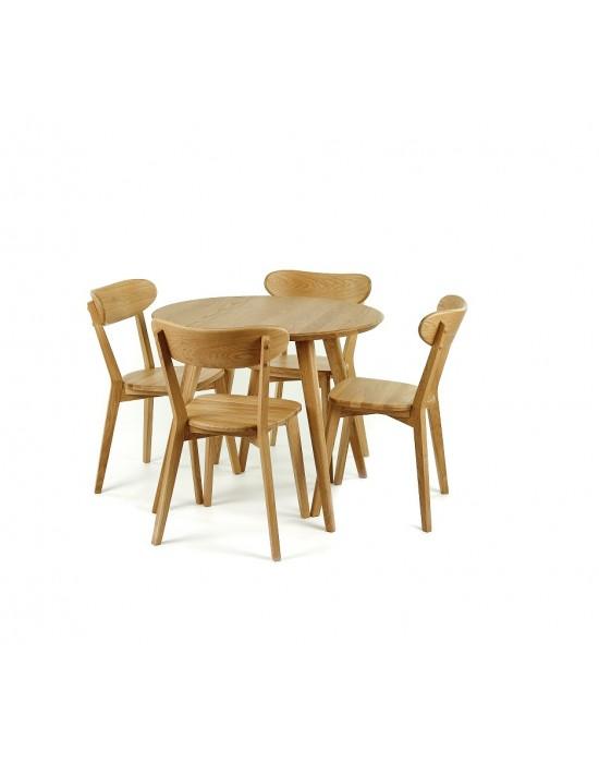 LULA Ø90 apvalus, ąžuolinis stalas