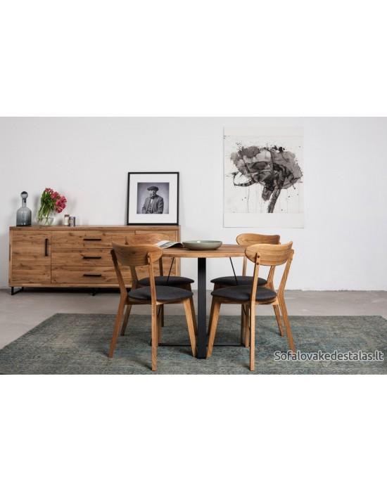 LOFT Ø100 apvalus ąžuolinis stalas