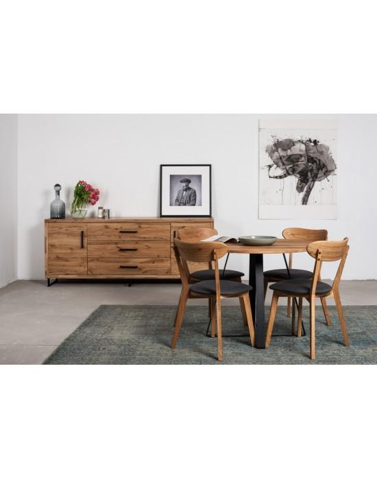 LOFT Ø110 apvalus ąžuolinis stalas
