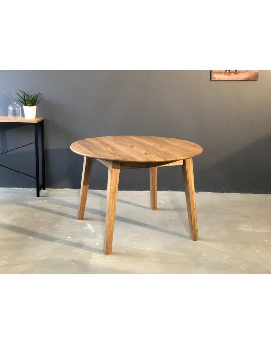 Apvalus ąžuolo masyvo stalas GENOVA Ø110-160X110