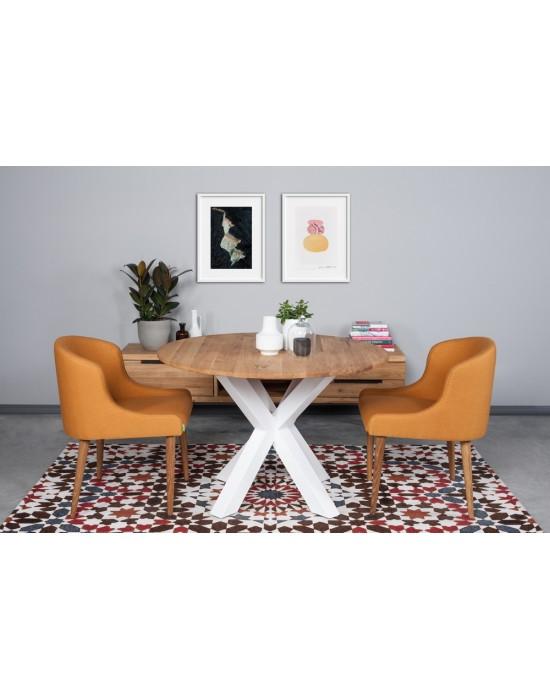MODERNA APVALUS Ø100 baltom kojom industrinio stiliaus stalas