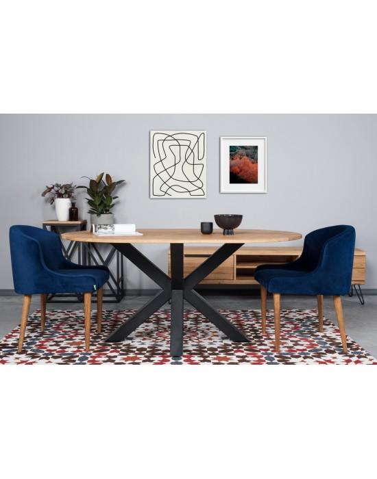 MODERNA OVAL 140X90 industrinio stiliaus stalas