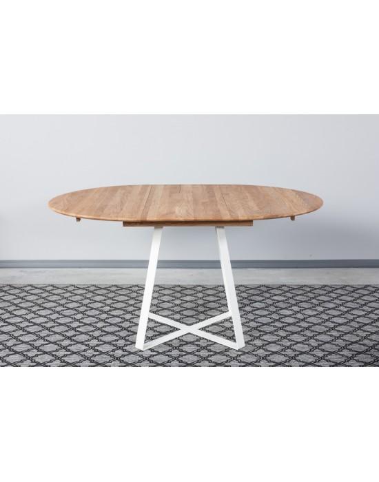 GENOVA LOFT WHITE Ø110-153 apvalus, prasiilginantis, ąžuolinis stalas
