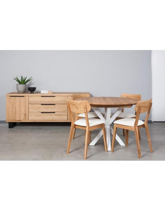 GENOVA MODERNA WHITE Ø110-153 apvalus, prasiilginantis, ąžuolinis stalas