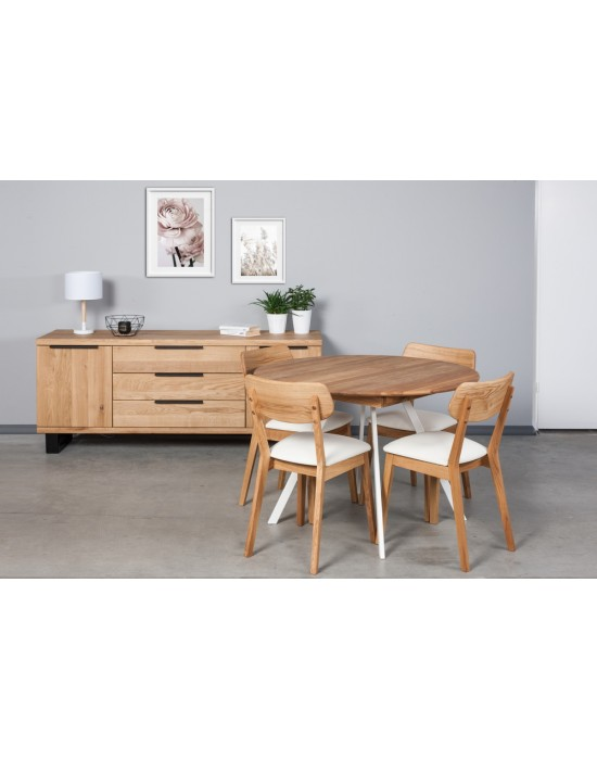 GENOVA TORI WHITE Ø110-153 apvalus, prasiilginantis, ąžuolinis stalas