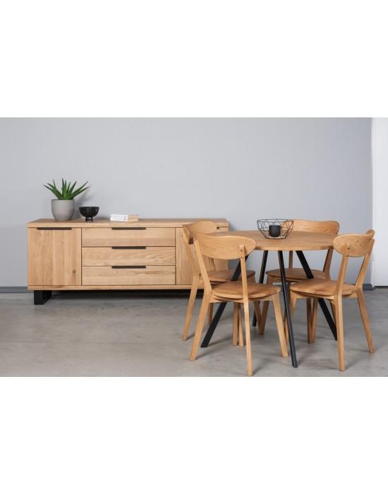 TORI Ø110 apvalus ąžuolinis stalas
