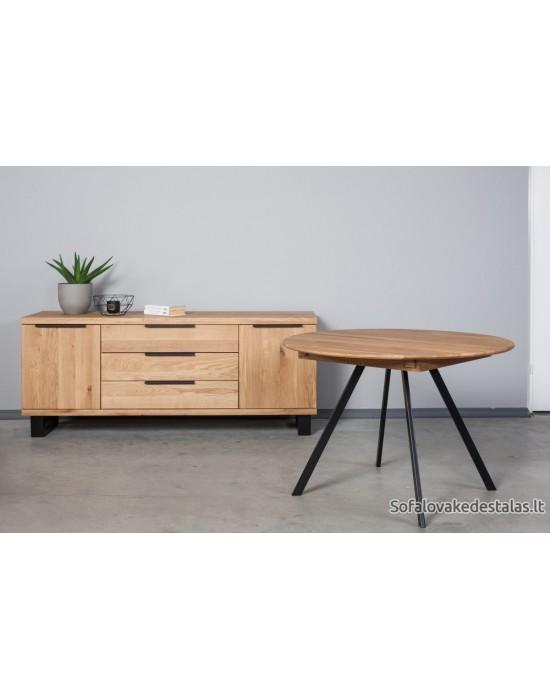 GENOVA TORI Ø110-153 apvalus, prasiilginantis, ąžuolinis stalas