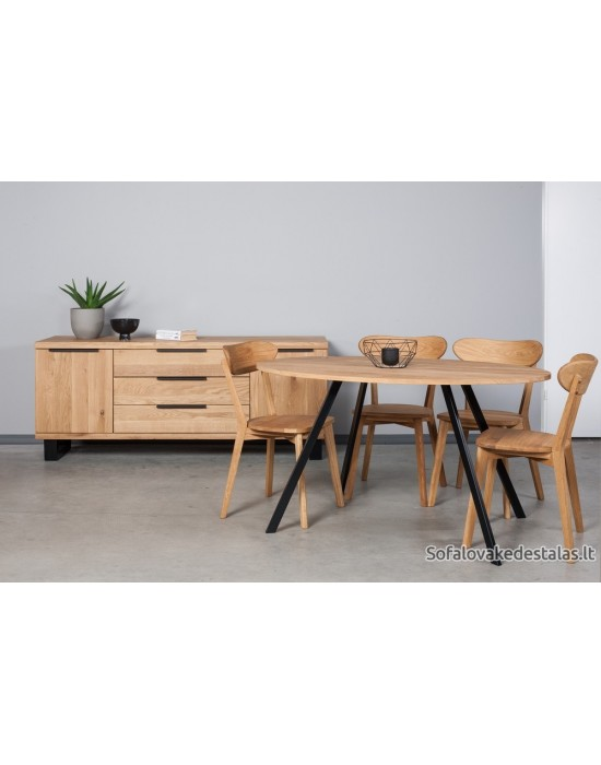 TORI  ELIPSE 140x90 ąžuolinis ovalus stalas
