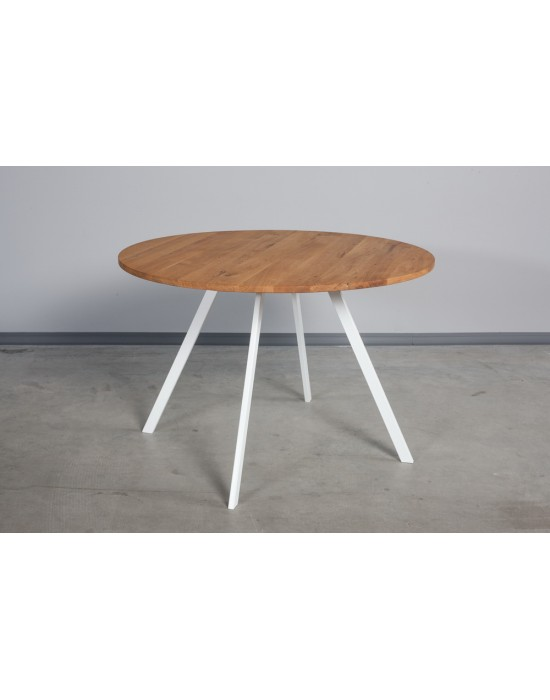TORI WHITE Ø100 apvalus ąžuolinis stalas
