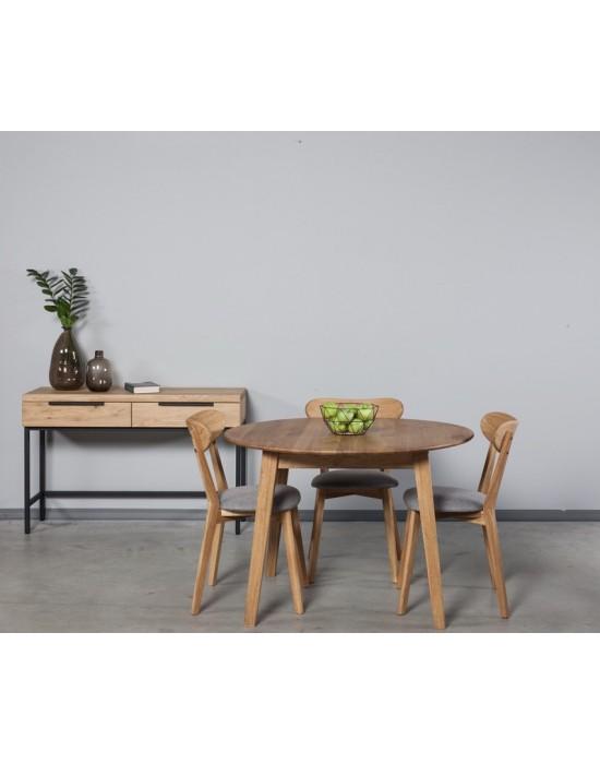 GENOVA Ø110 apvalus,ąžuolinis stalas
