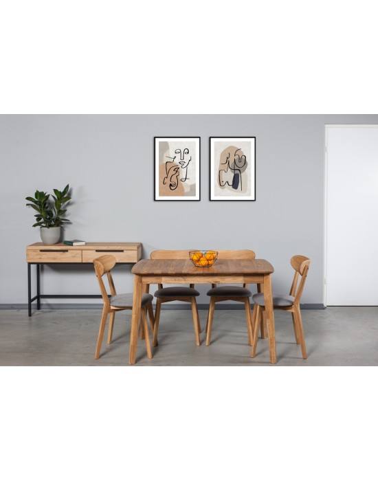ISKU 110-140X70 ąžuolinis, prasiilginantis, stalas