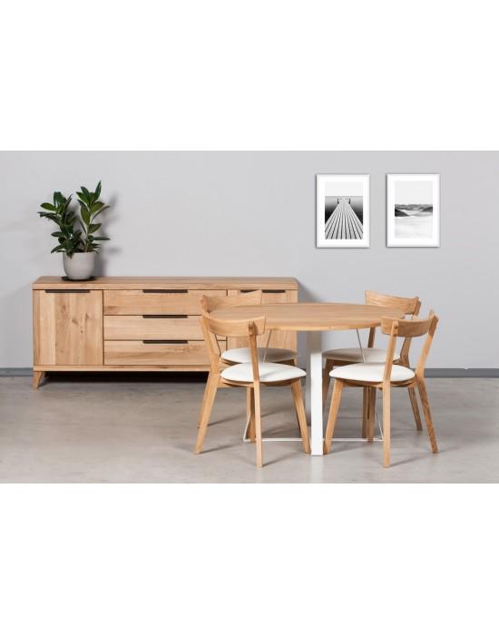 LOFT WHITE Ø110 apvalus ąžuolinis stalas
