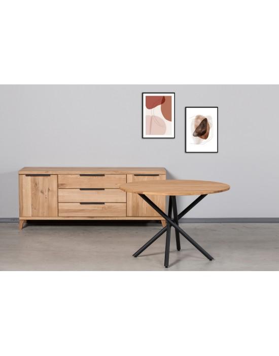 SPYDER  APVALUS Ø100 industrinio stiliaus ąžuolinis stalas