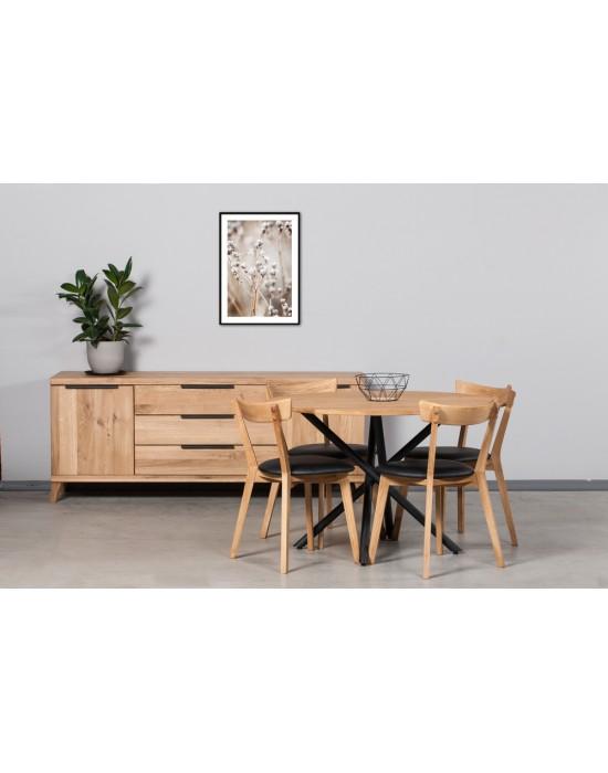 SPYDER APVALUS Ø110 industrinio stiliaus ąžuolinis stalas