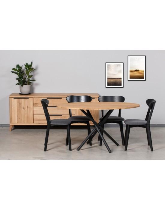 SPYDER  ELIPSĖ 140x90 industrinio stiliaus ąžuolinis stalas