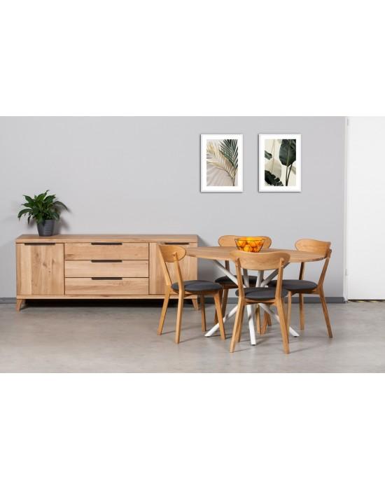 SPYDER  ELIPSĖ  WHITE 140x90 industrinio stiliaus ąžuolinis stalas