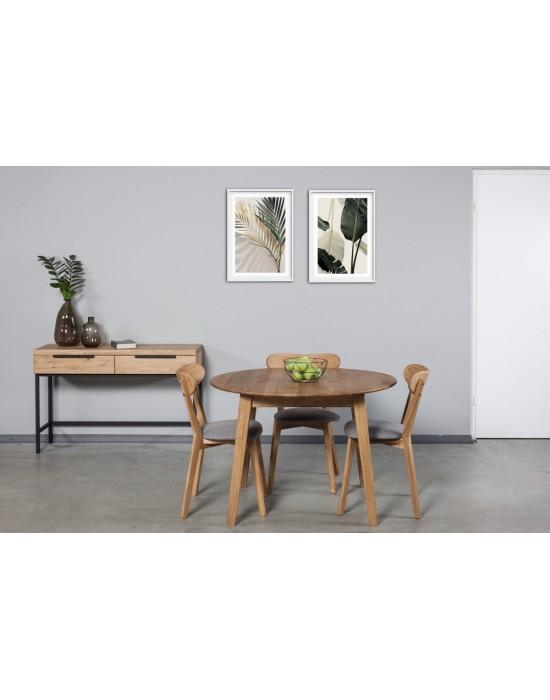 GENOVA Ø110-150 apvalus, prasiilginantis, ąžuolinis stalas